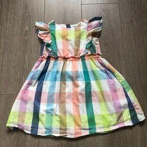 GAP Toddler Girls Rainbow Plaid Dress, Sz 4T